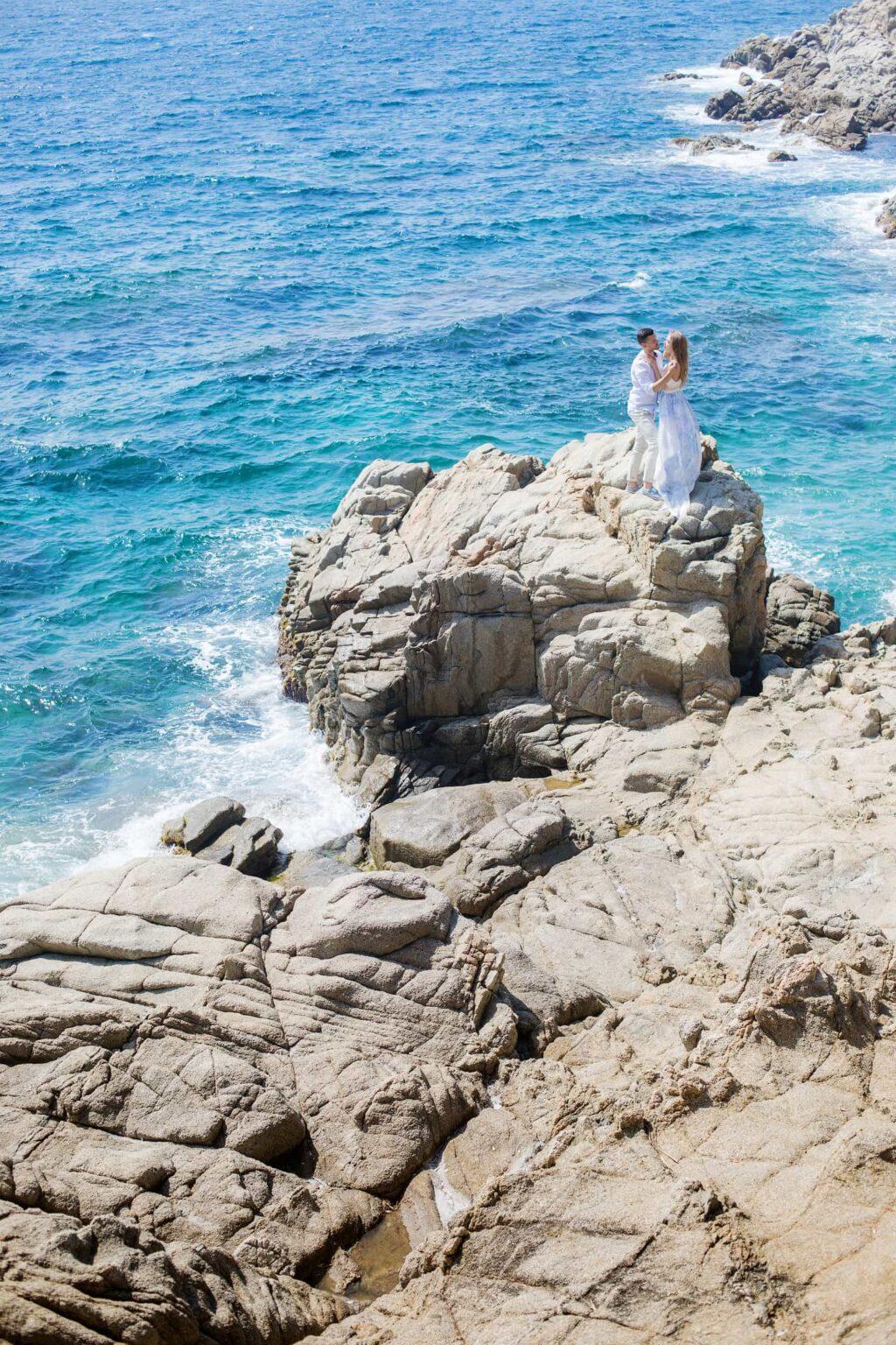 Hochzeitsreise Barcelona, romantische Verlobung Spanien, After Wedding Shooting in Tossa del Mar