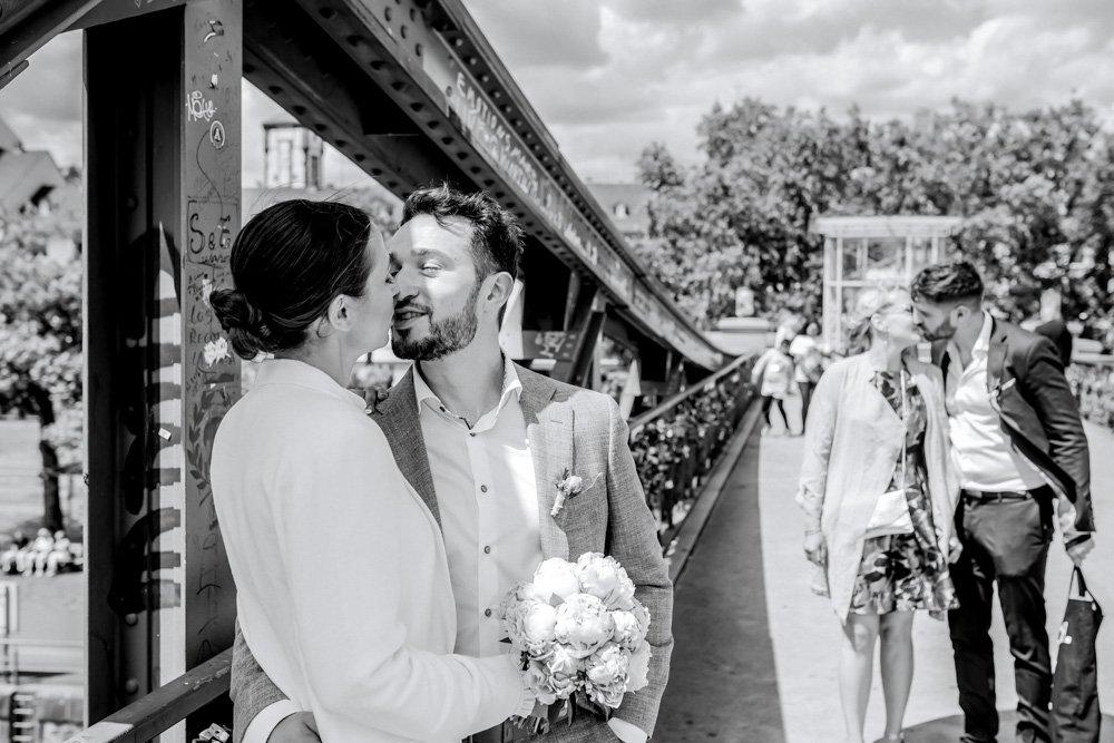 Hochzeitsreportage am Eisernen Steg, Fotograf Frankfurt, Hochzeit feiern ausserhalb München